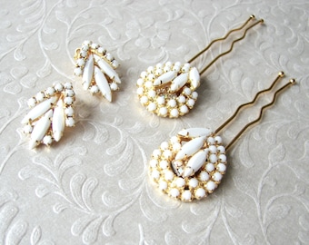 White Wedding Jewelry Vintage Milk Glass Hairpin Earrings Demi Parure Jeweled Hairpiece Bridal Hair Comb Bohemian Chic Bride Matching Set
