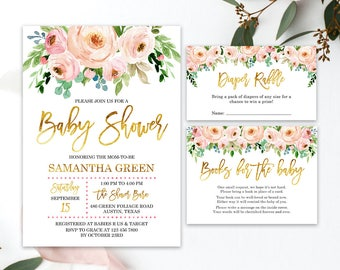 Baby shower invitation etsy blush pink watercolor for baby shower invitation filmwisefo