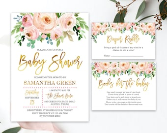 Exceptional Blush Pink Watercolor For Baby Shower Invitation Printable Blush Pink  Floral Watercolor Baby Shower, Baby