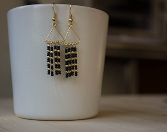 Beaded earrings, African inspired, black and gold