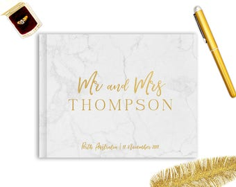 Wedding Guest Book wedding guestbook wedding album custom guest book landscape guest book real gold foil guest book horizontal - Faux Marble