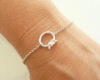 Sterling Silver Knot Bracelet, Love Knot Bracelet, 24K Gold Vermeil Bracelet, Minimalist Dainty Bracelet, 925 Sterling Silver Jewelry