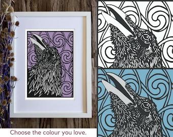 Raven art print, Bird wall art, Scottish Celtic art, Crow print, Raven decor, Folklore prints, Mythical wall art, Pagan art, Pictish swirl