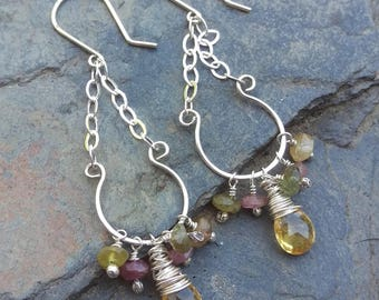 Multi-Gemstone Cluster Earrings on Handforged Sterling Frame