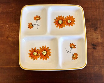 Made in japan vintage retro ceramic serving tray platter with orange flowers flower power