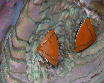 Vintage orange enamel triangle earrings with silver details and backing