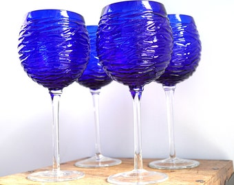 Mothers Day Gift Large Wine Glass Cobalt Blue Glass Goblet Pressed Glass Housewarming Gift Blue Home Decor Modern Minimal Bar Kitchen decor