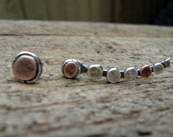 Ear climber sterling silver and copper with matching post earring ear pin