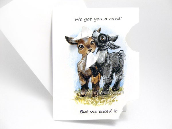 Funny card cute goat art hungry baby goats thinking of you zoom bookmarktalkfo Image collections