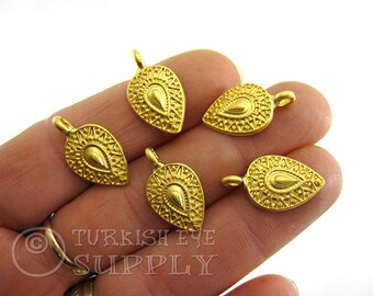 5 pc, Mini Teardrop Charms, 22K Gold Plated, Turkish Jewelry, Tribal Jewelry, Gold Teardrop Pendants, Tribal Charms