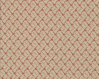 Clermont Farms - Minick and Simpson - Moda - 14686-12.  Red on tan. Sold and priced by the half yard