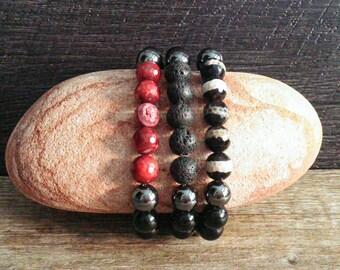 Beaded bracelet, gift for boyfriend, onyx bracelet, bracelet men, unisex jewelry, stackable bracelet, gemstone bracelet, gift for him, yoga