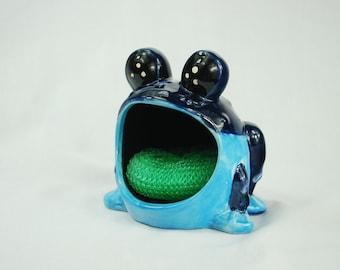 Cobalt blue and blue spotted  big eyed frog sponge holder