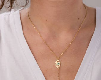GoldFill Evil Eye Necklace Women Girls Blue Eyes GoldFill Hamsa Kabbalah Jewelry Blue Eyes Protection
