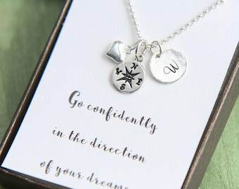 Journey Necklace, Compass Necklace, Personalized Compass Necklace, Initial Necklace, Go confidently, Enjoy the journey, Graduation Gift