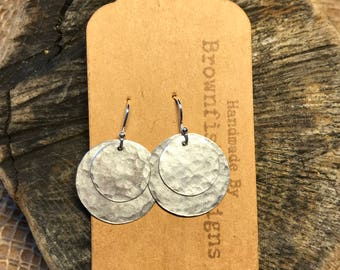 Double Disc Tin Earrings