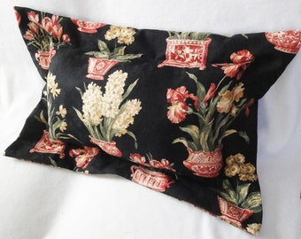 Black floral flange pillow, red tulip, iris, daffodil, unique large cushion 26 x 18 inches with insert, reversible, Asian inspired pillow