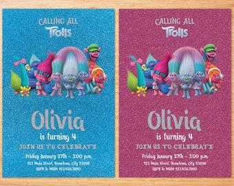 Trolls Invitation, Trolls Birthday Invitation, Trolls Birthday Invite, Trolls Personalized Birthday Invitation, Trolls Digital File, Trolls