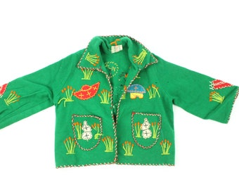 50s Children's Wool Jacket Embroidered Applique Mexico Girls Boys Green Vintage 1950s *Check Measurements