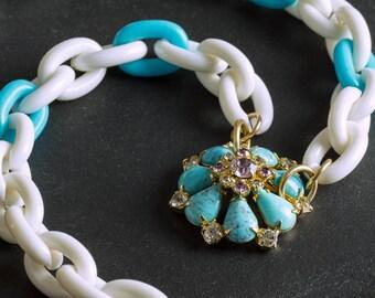 50% OFF SALE Vintage Turquoise Southwestern Necklace Chunky Aqua / White Links, Rhinestone & Stone Flower Pendant, Gold Clasp Jewelry Chain