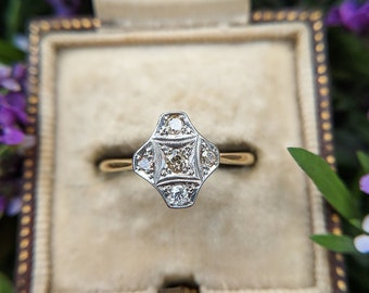 Antique Art Deco 18ct Yellow Gold & Platinum Diamond Lozenge Ring ENGAGEMENT