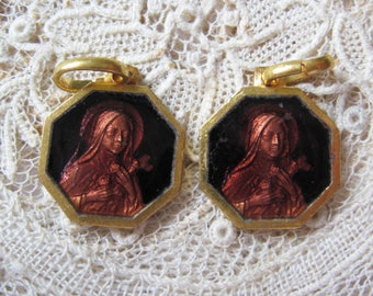 Vintage-paar - 'Chocolate' braun Emaille St. Therese (Teresa) vergoldet Goldmedaille M954