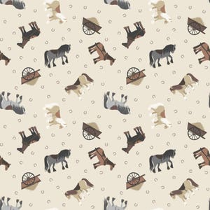 Small Things - Horses Beige SM2-1 by Lewis & Irene Cotton Fabric Yardage