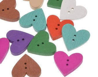 5 buttons - colorful hearts - 2 holes - 17.7x18.8mm