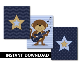 Guitar Monkey Rockstar - Nursery Art - INSTANT DOWNLOAD - Set of 3 - Rockin Baby