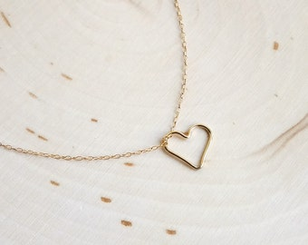 Open Heart Necklace Gold Filled or Sterling Silver