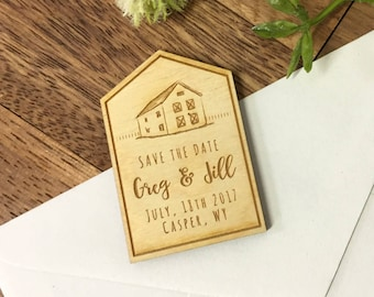 Barn Save the Date Magnets, Custom Engraved, Rustic Wedding, Country Wedding