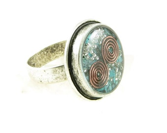 Orgone Energy Ring with Turquoise - Framed Circle Cocktail Ring - Adjustable Ring - Orgone Energy Jewelry - Artisan Jewelry