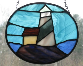 Stained Glass Light House on Rock/Handcrafted/Sun Catcher/Made in USA