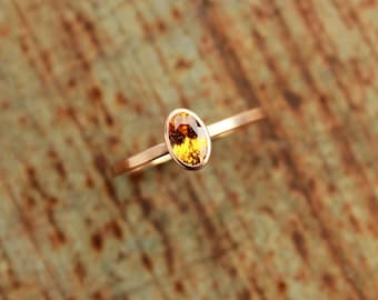 14k roségold ring with mandarin garnet