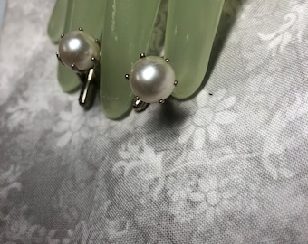 "Vintage 1"" Goldtone Faux Pearl Single Beaded Cuff Links"