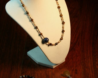 A-Symmetrical Blue and Brown Necklace with Bracelet and Earrings