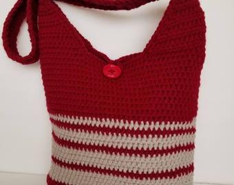 Handmade red shoulder bag