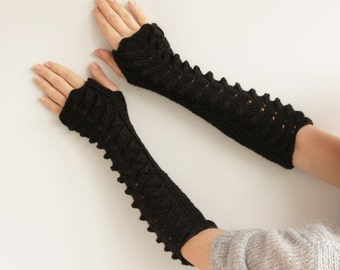 SALE-Long black Fingerless Gloves---knitted gloves, fingerless gloves-ready to ship