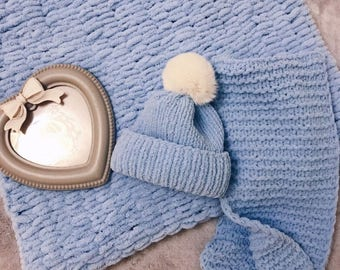 Baby hat, baby blanket, baby scarf