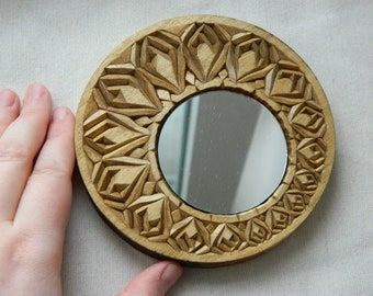 Carved Little Round Basswood Mirror Handmade Hand Mirror Housewarming Gift Wood