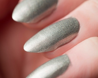 Mister Gutsy Nail Lacquer - Sparkling Holographic Silver - Tips from the Wasteland - .45oz/13.2mL