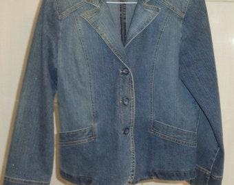 Vintage St. Johns Bay women's denim jacket size large    # 87