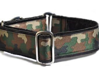 Martingale Dog Collar or Buckle Dog Collar - Custom Dog Collar - Wide Martingale Collar -  Camouflage Jacquard - 1.5 Inch