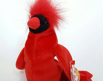 "TY Original Beanie Baby - ""MAC"" the Red Cardinal, Limited Edition, Retired/Rare, 4 errors, Mint condition with Mint Tags, LIVToyShop"