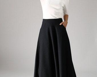 black skirt, wool skirt, long skirt, womens skirts, winter skirt, black wool skirt, flared skirt, skirt with pockets, office skirt 1088