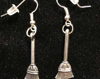 Silver Broom French Wire Earrings