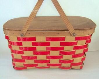 1950's Oak & Ash Picnic Basket by Jerywil Wov-n-wood, Vintage Small Split Oak Weave Picnic Basket, Bent Wood Handle, Red Weave