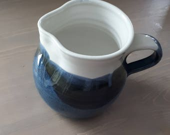 Pottery Pitcher or jug in white and  blue perfect for  gravy serving or prep