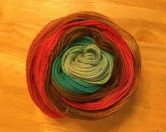 Hand Spun Hand Dyed Variegated 100% Wool Yarn
