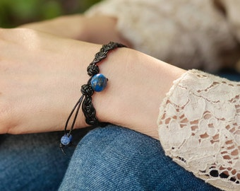 Braided Leather Bracelet Lapis